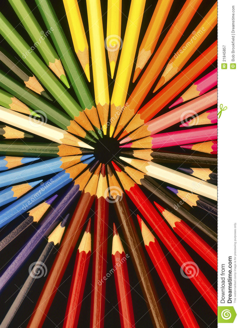 Coloured Pencils Circles Stock Image Image Of Brown