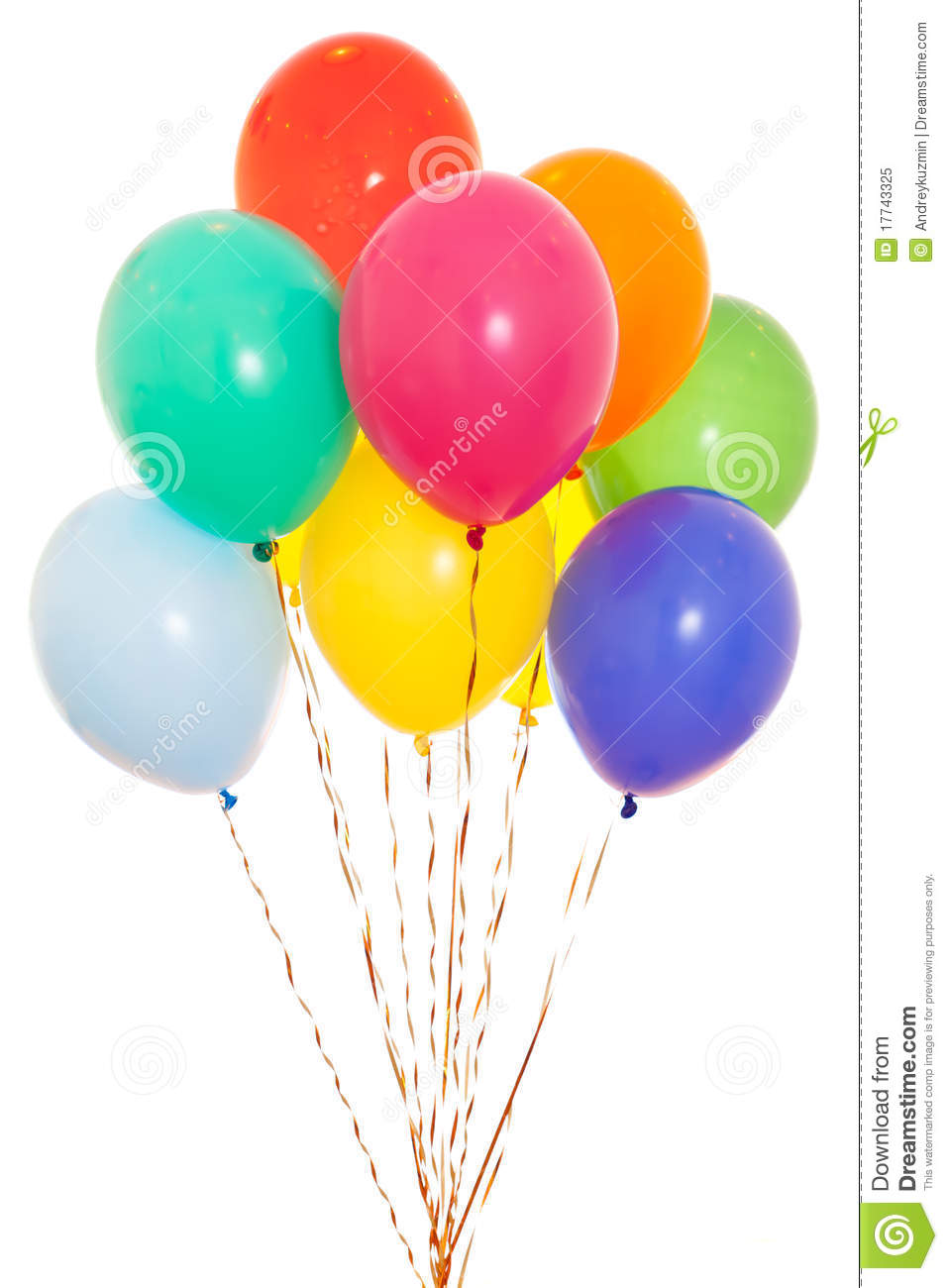 Colourful Balloons Bunch Isolated On White Stock Image