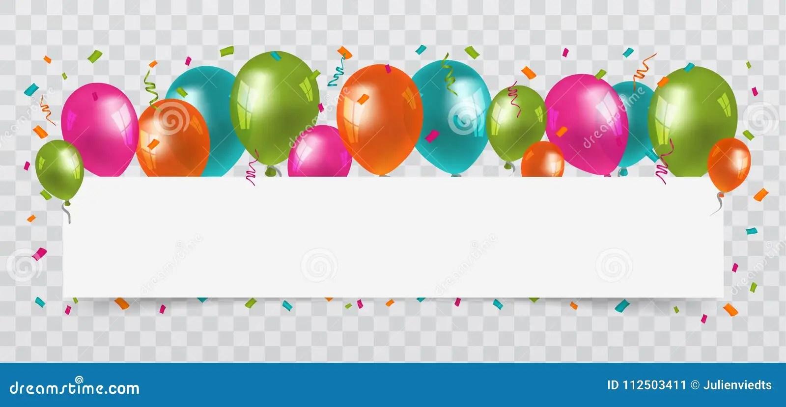 Confetti Border Birthday Transparent Background
