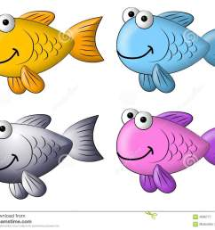 a cartoonish clip art illustration featuring your choice of 4 colourful clip art fish isolated on white [ 1300 x 1101 Pixel ]