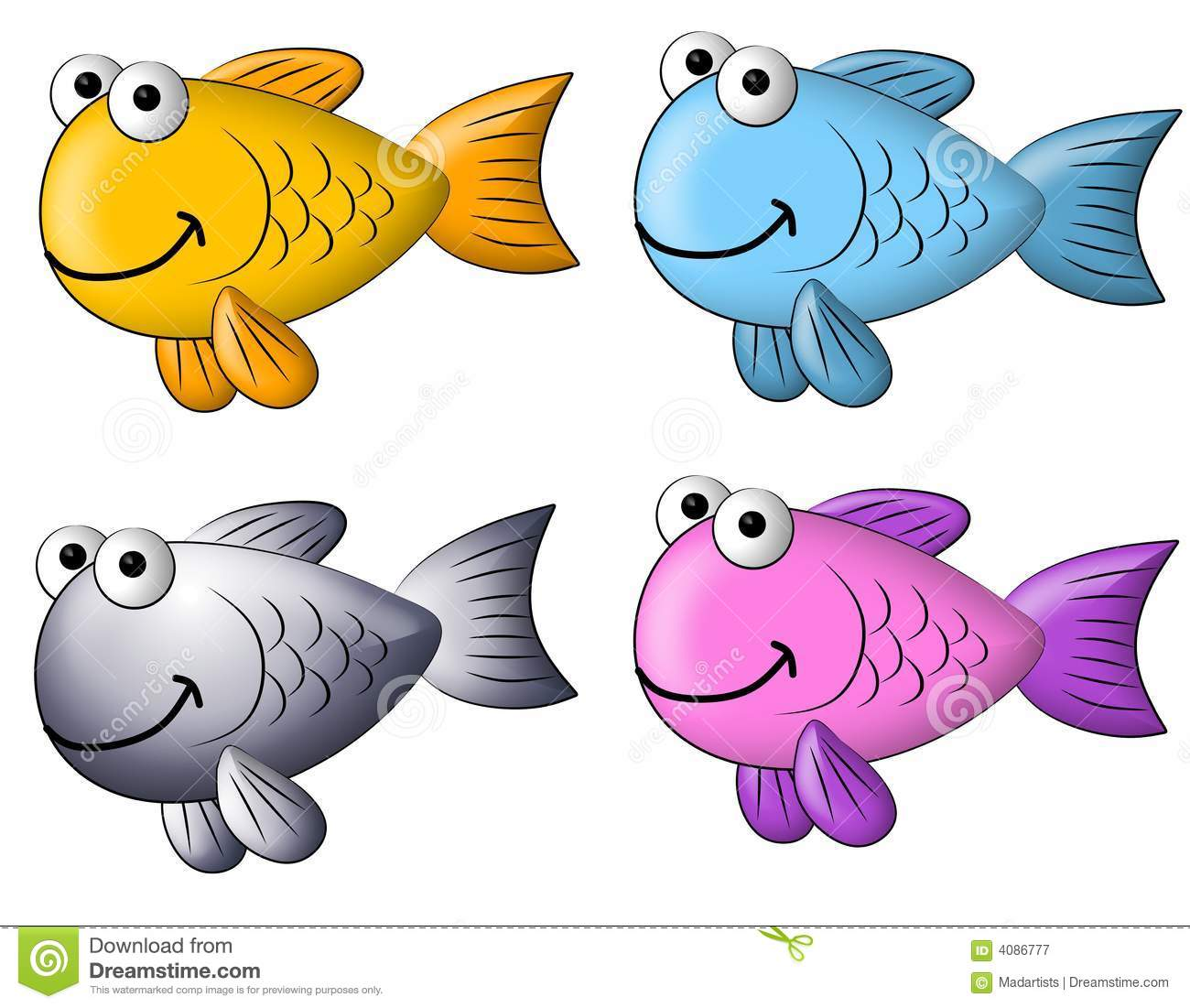 hight resolution of a cartoonish clip art illustration featuring your choice of 4 colourful clip art fish isolated on white