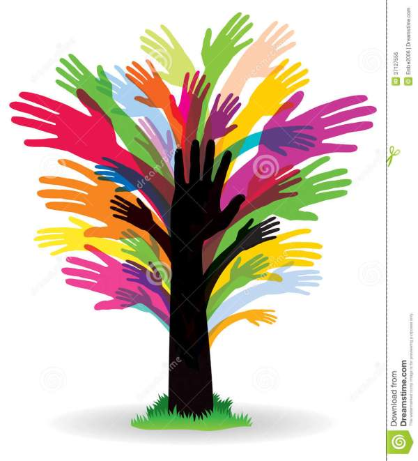 Colourful Hand Tree stock vector Illustration of image
