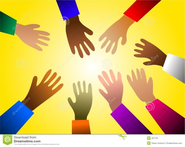 Colourful hands stock vector Image of agree friendship
