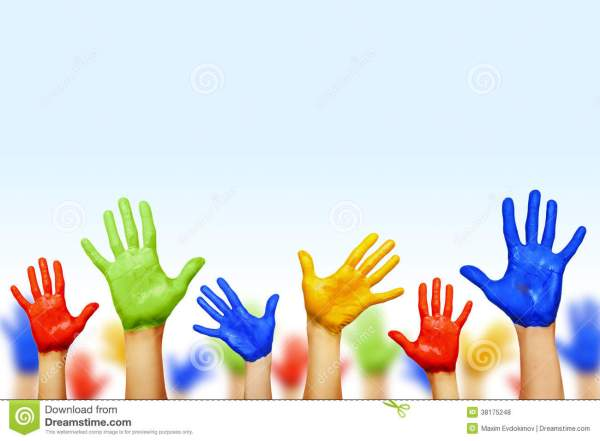 Colourful hands stock photo Image of community