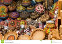 Colourful Traditional Handicraft Basket Royalty Free Stock