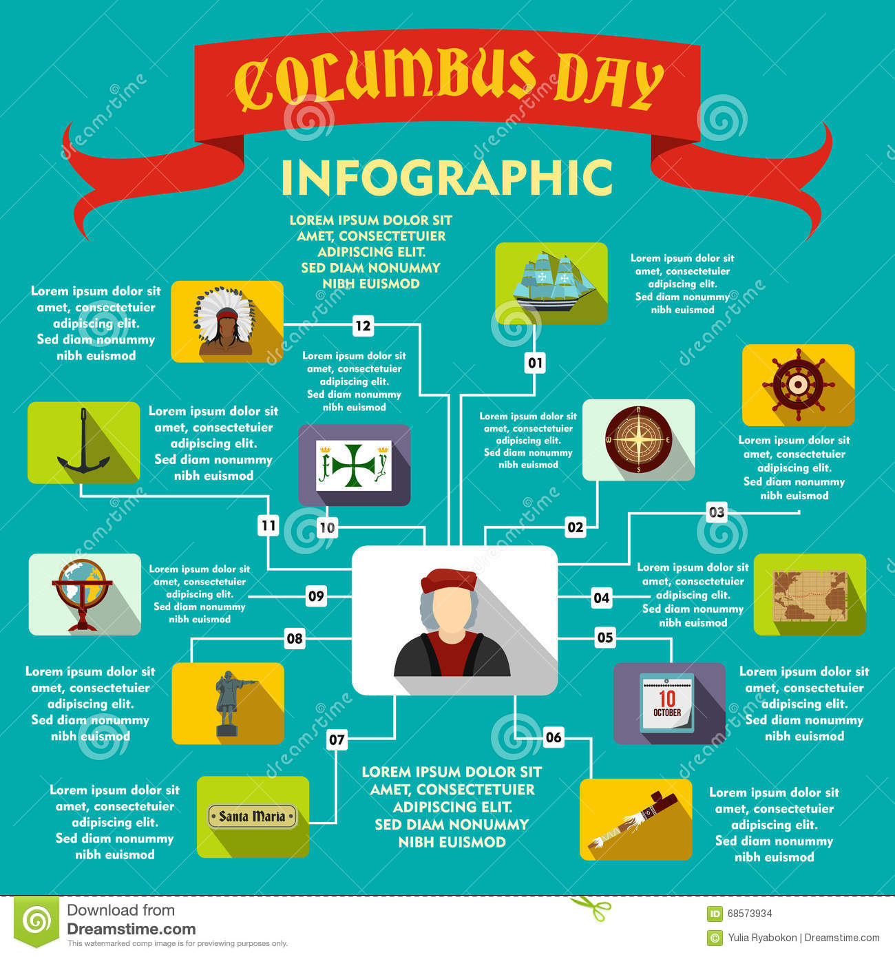 Columbus Day Infographic Flat Style Stock Vector