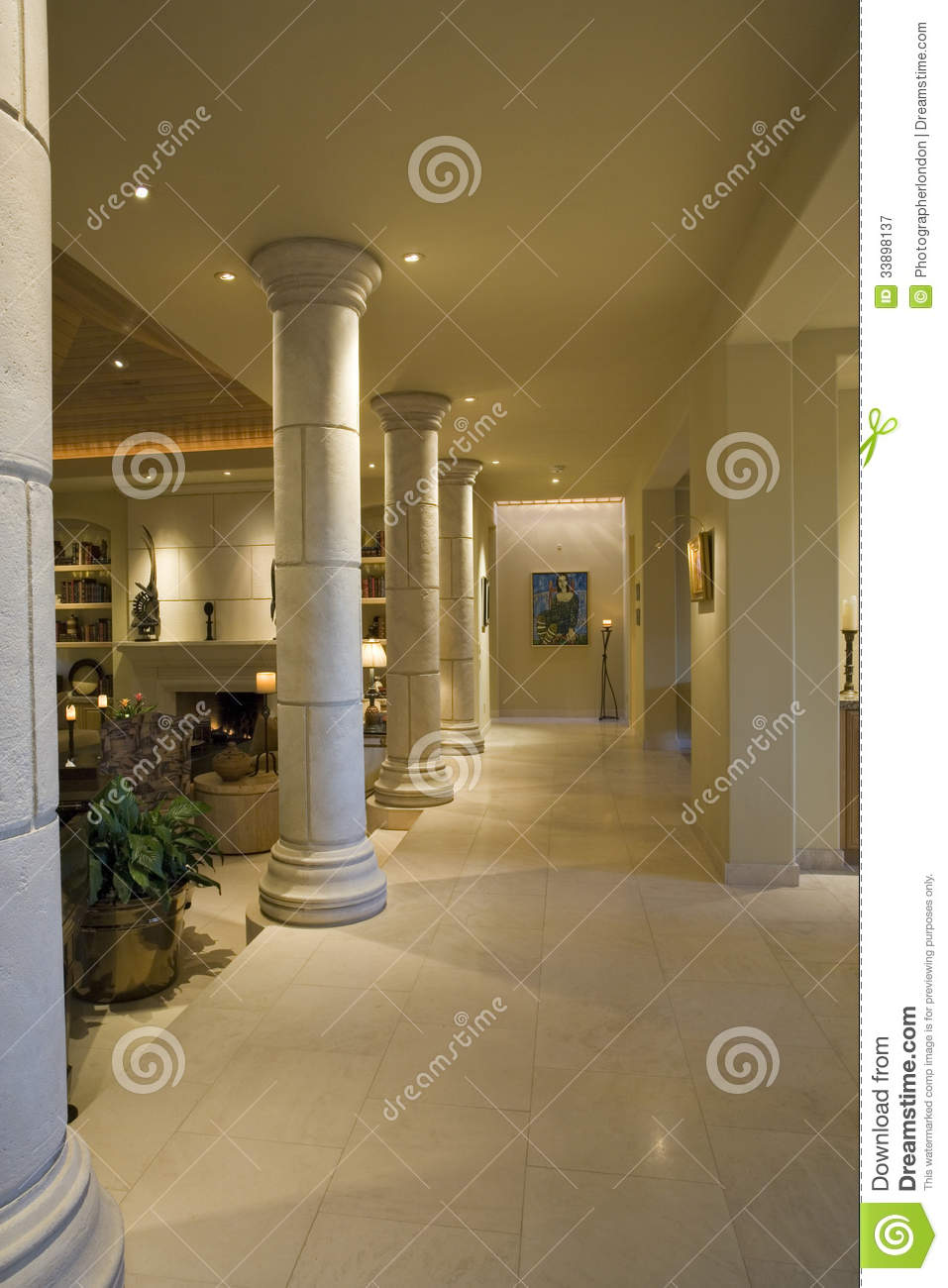 Columns Along House Hallway Royalty Free Stock Photography  Image 33898137