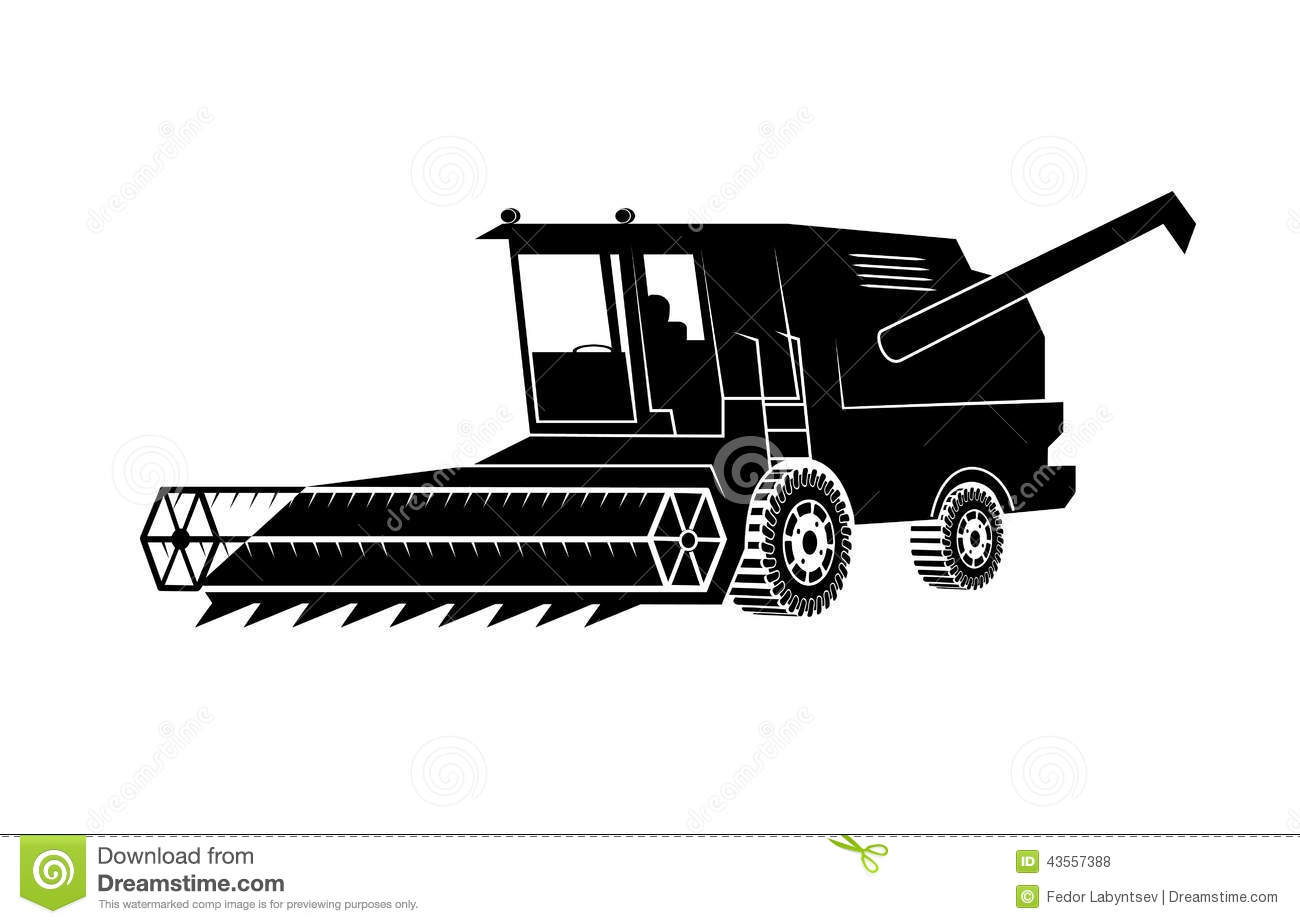 Combine Harvester On A White Background Stock Vector