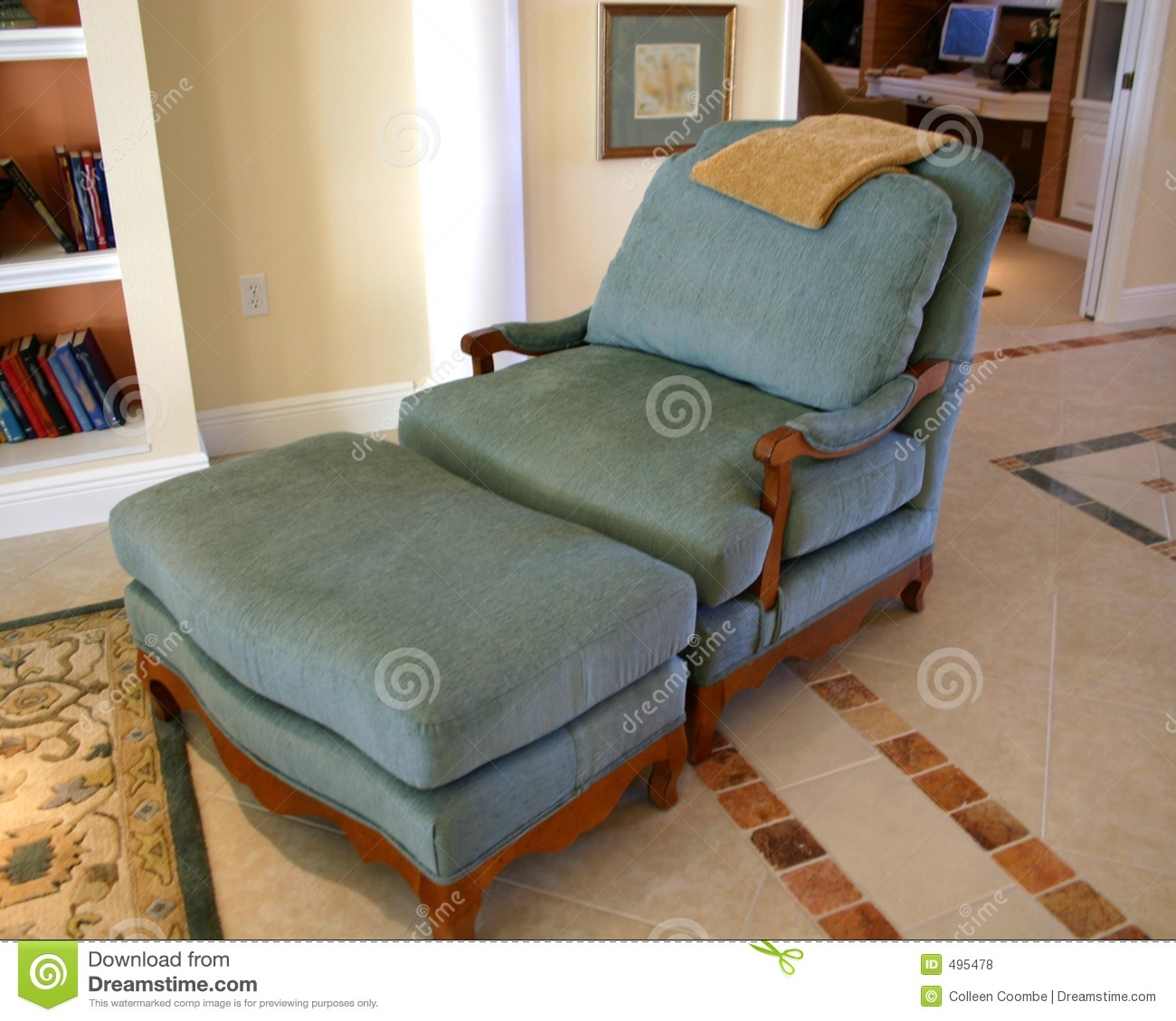 Reading Chair And Ottoman Comfortable Chair And Ottoman Royalty Free Stock Photos