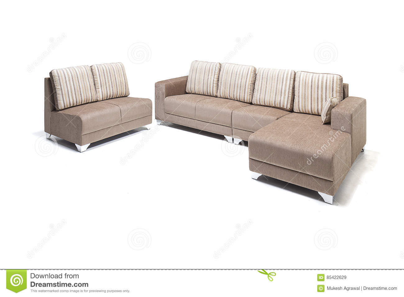 beige colour sofa set black fabric texture beautiful leather color on a white royalty free