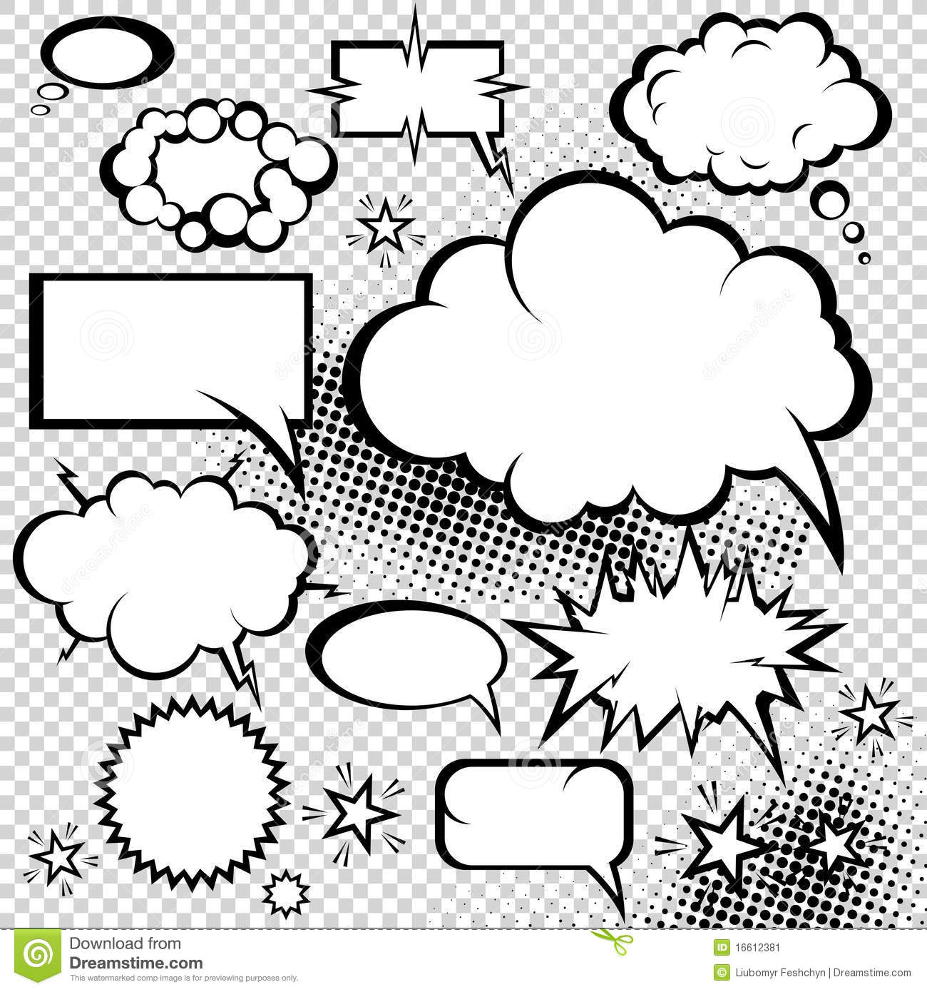 Comic Bubbles Collection Stock Vector Illustration Of