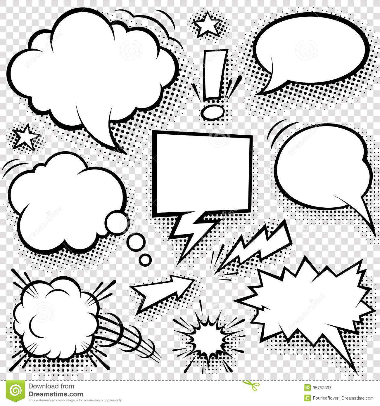 Comic bubbles and elements stock vector. Illustration of