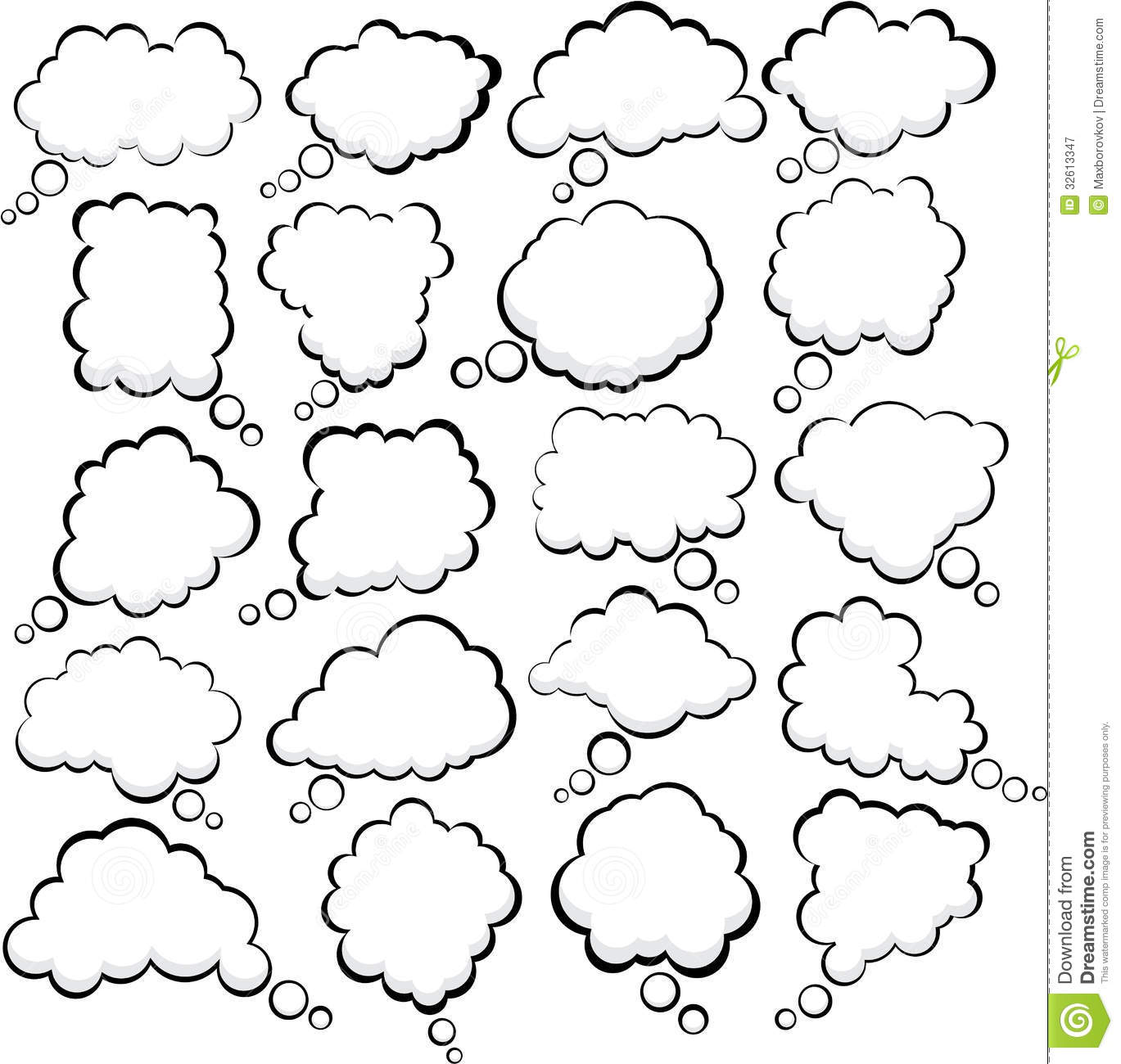 Comic Cloud Speech Bubbles. Royalty Free Stock Photography