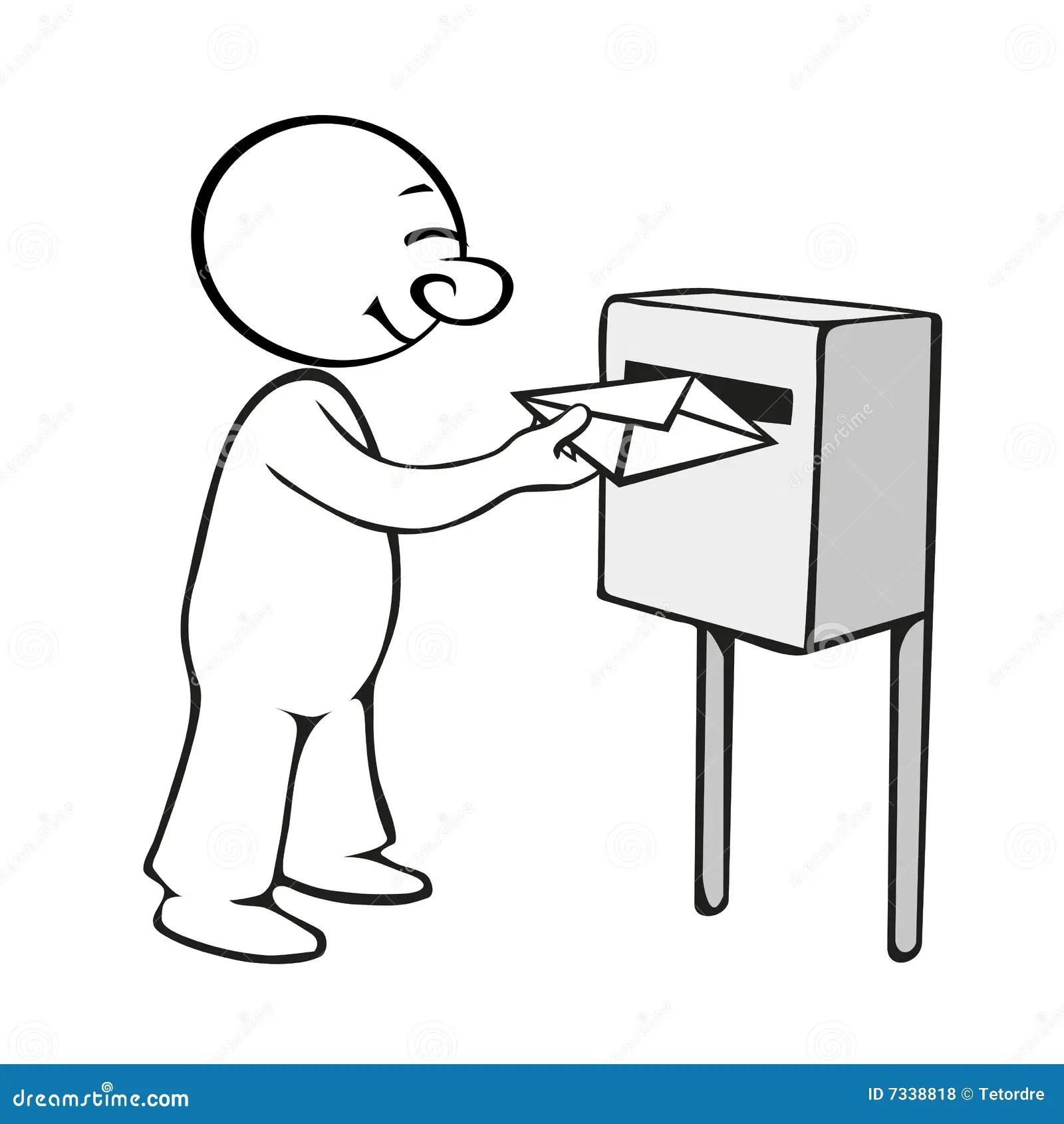 Comic man sends a letter stock illustration. Illustration