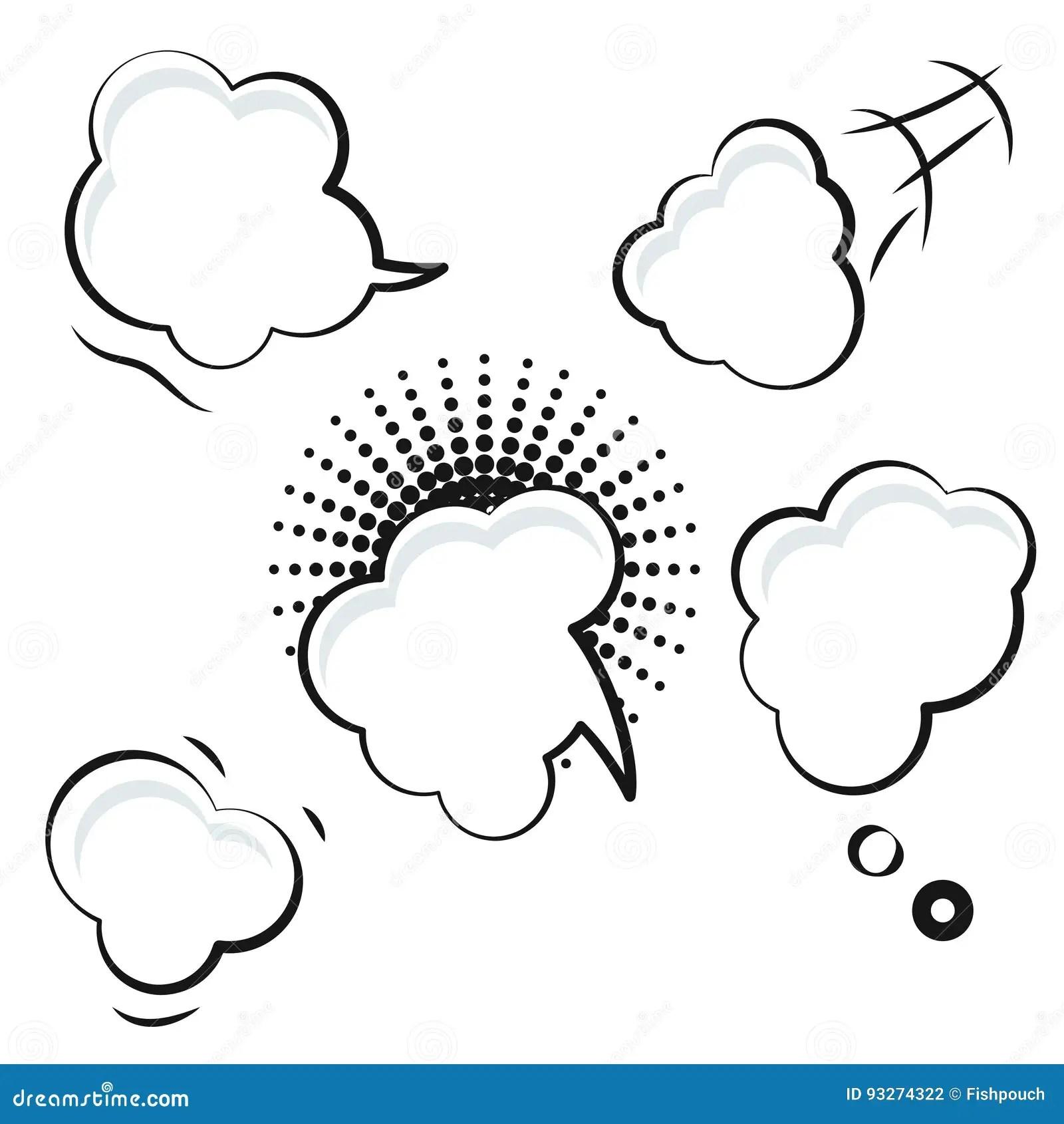 Comic Speech Bubble White Vector Icons. Stock Vector