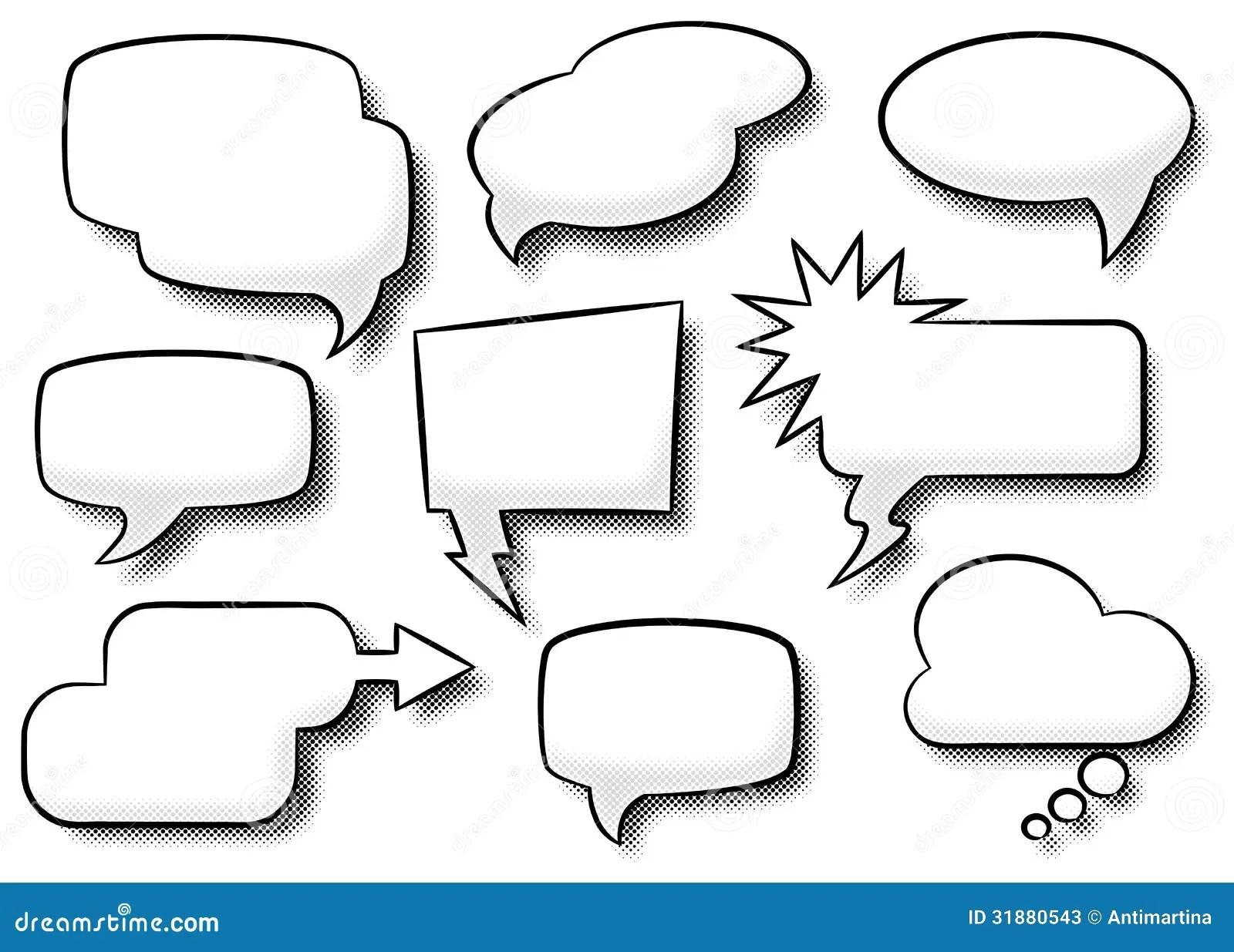Comic style speech bubbles stock vector. Illustration of