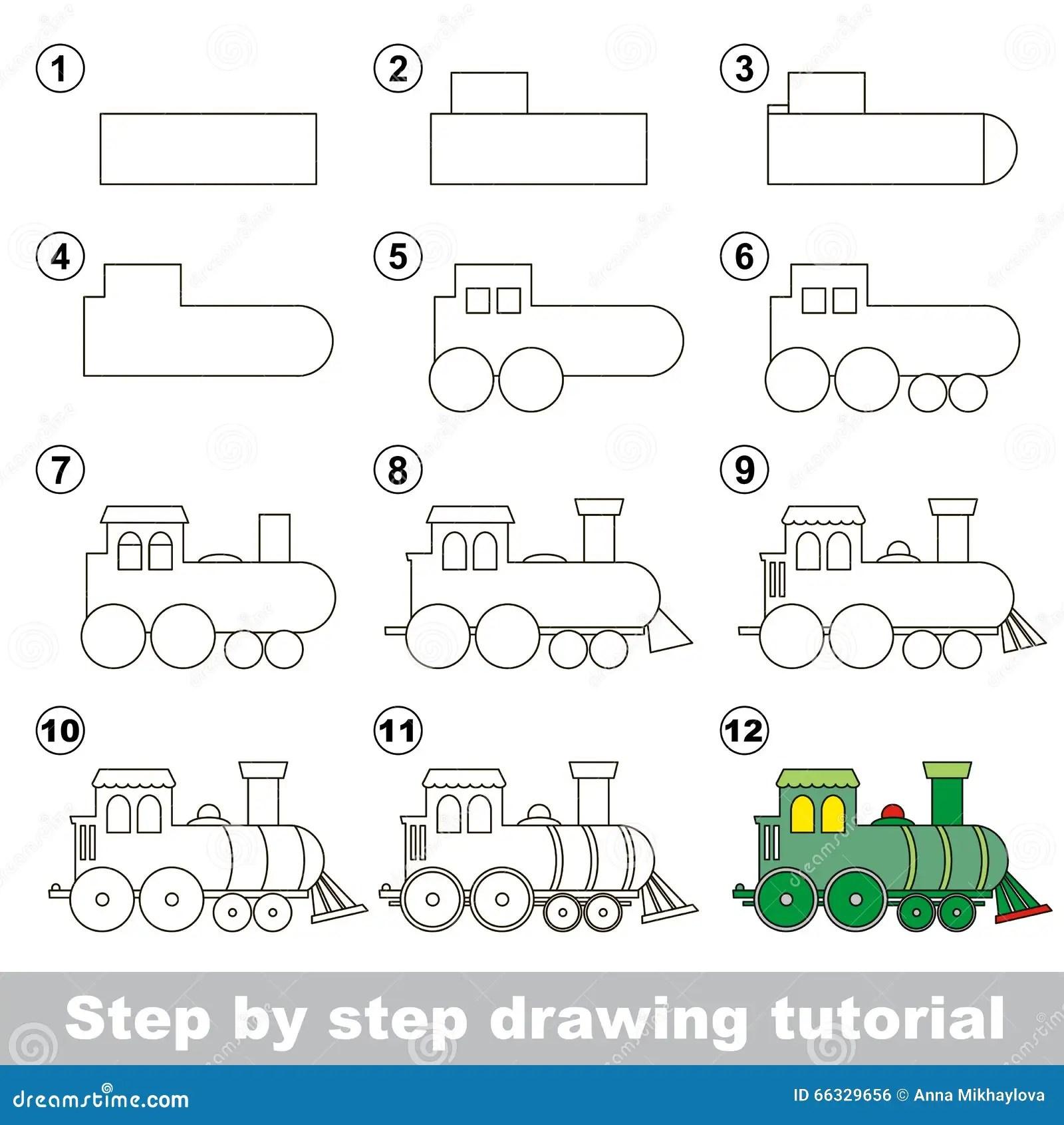 Comment Dessiner Une Locomotive Illustration De Vecteur