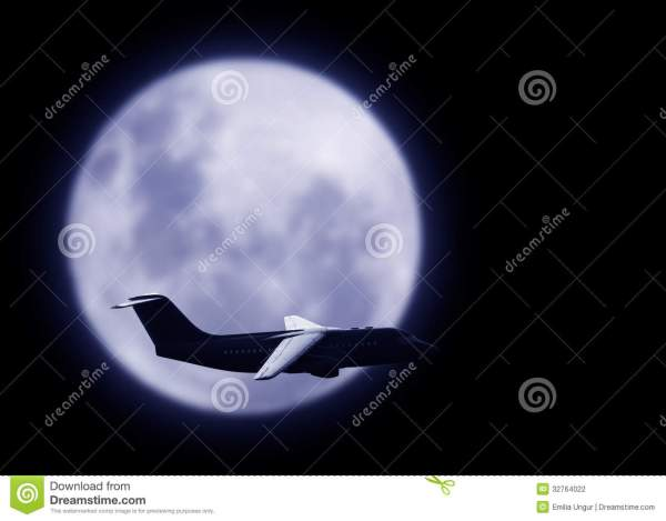 Commercial Airplane in Night Sky