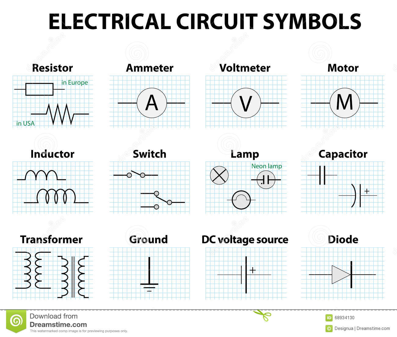 automotive electrical wiring diagrams symbols sub wire diagram common circuit stock vector illustration