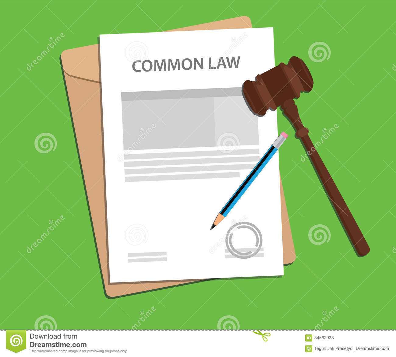 hight resolution of common law concept illustration with gavel and pencil
