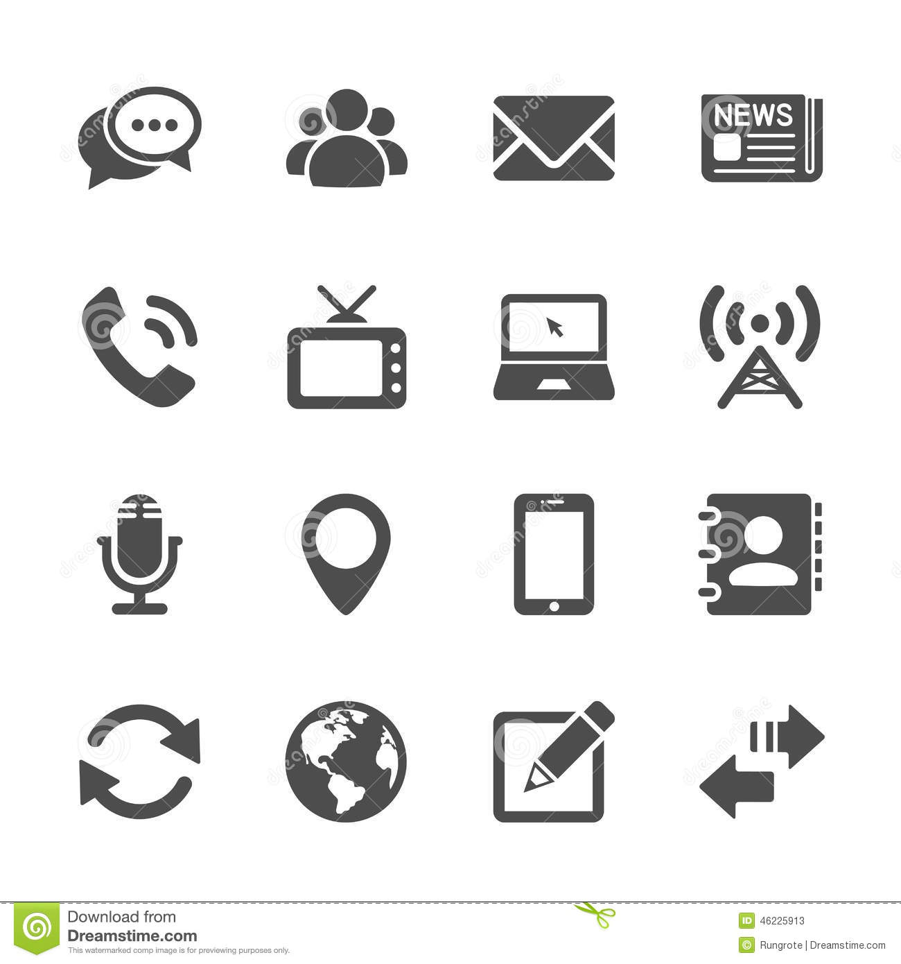 Communication Device Icon Set 2 Vector Eps10 Stock Vector