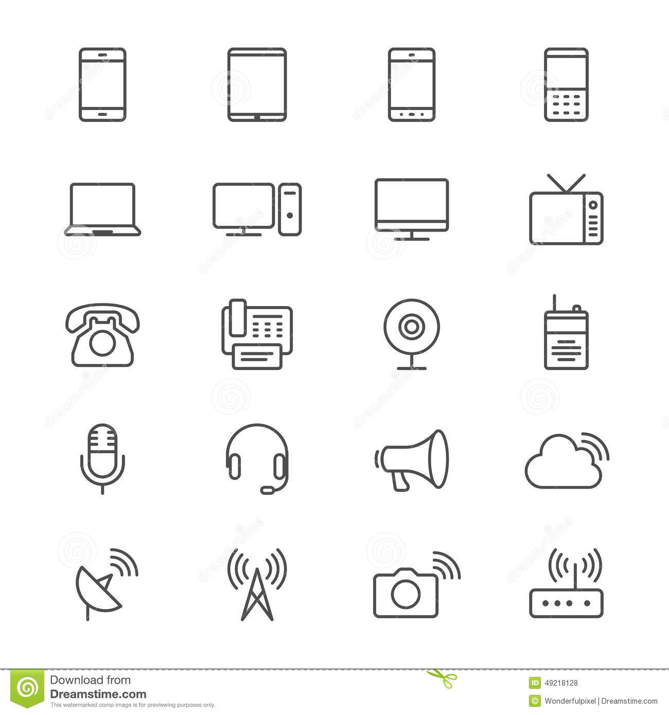 Communication Device Thin Icons Stock Vector