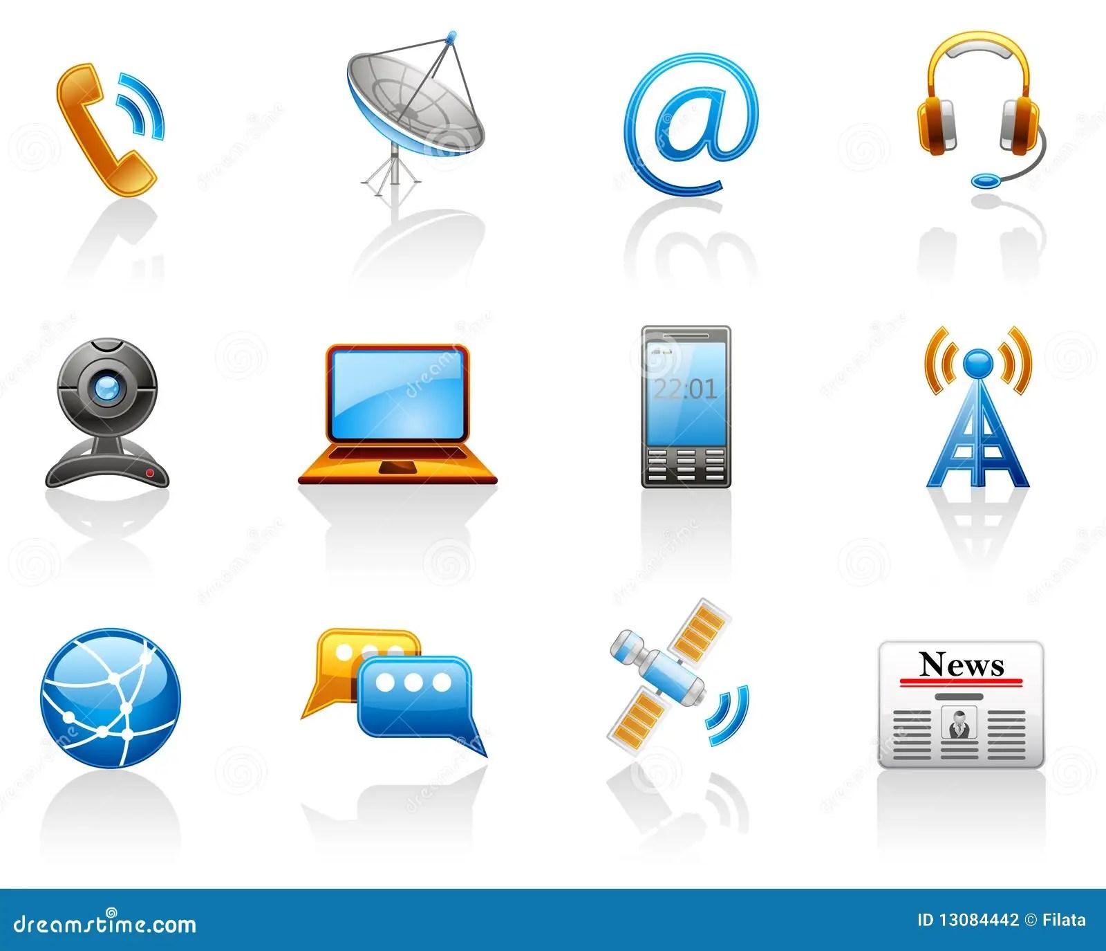 Communication Icon Set Stock Vector Illustration Of