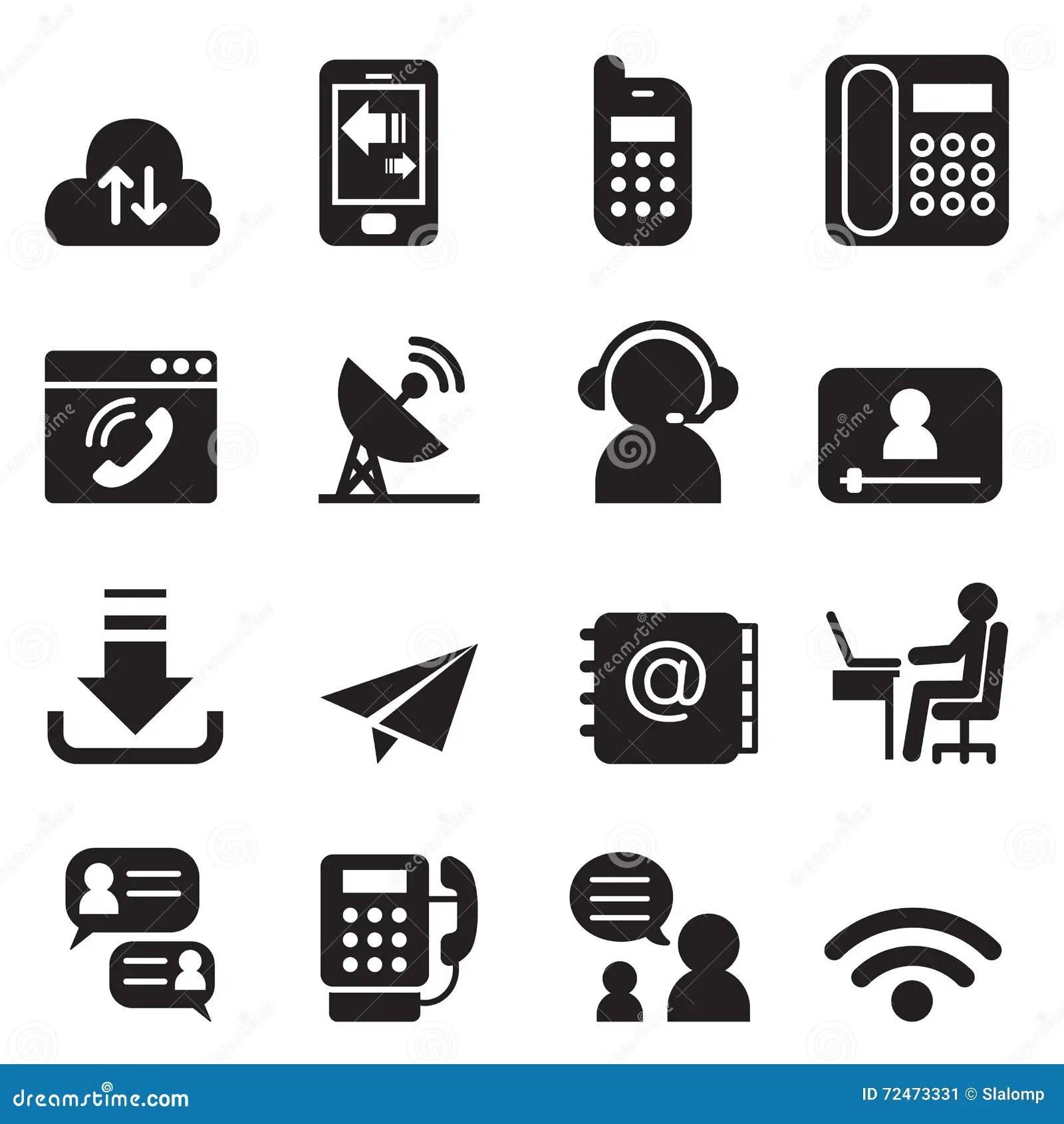 Communication Technology Icons Set 2 Stock Vector