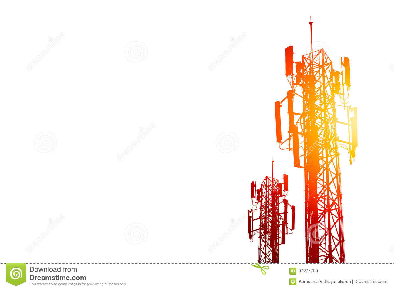 hight resolution of communication tower or 3g 4g network telephone cell site on white