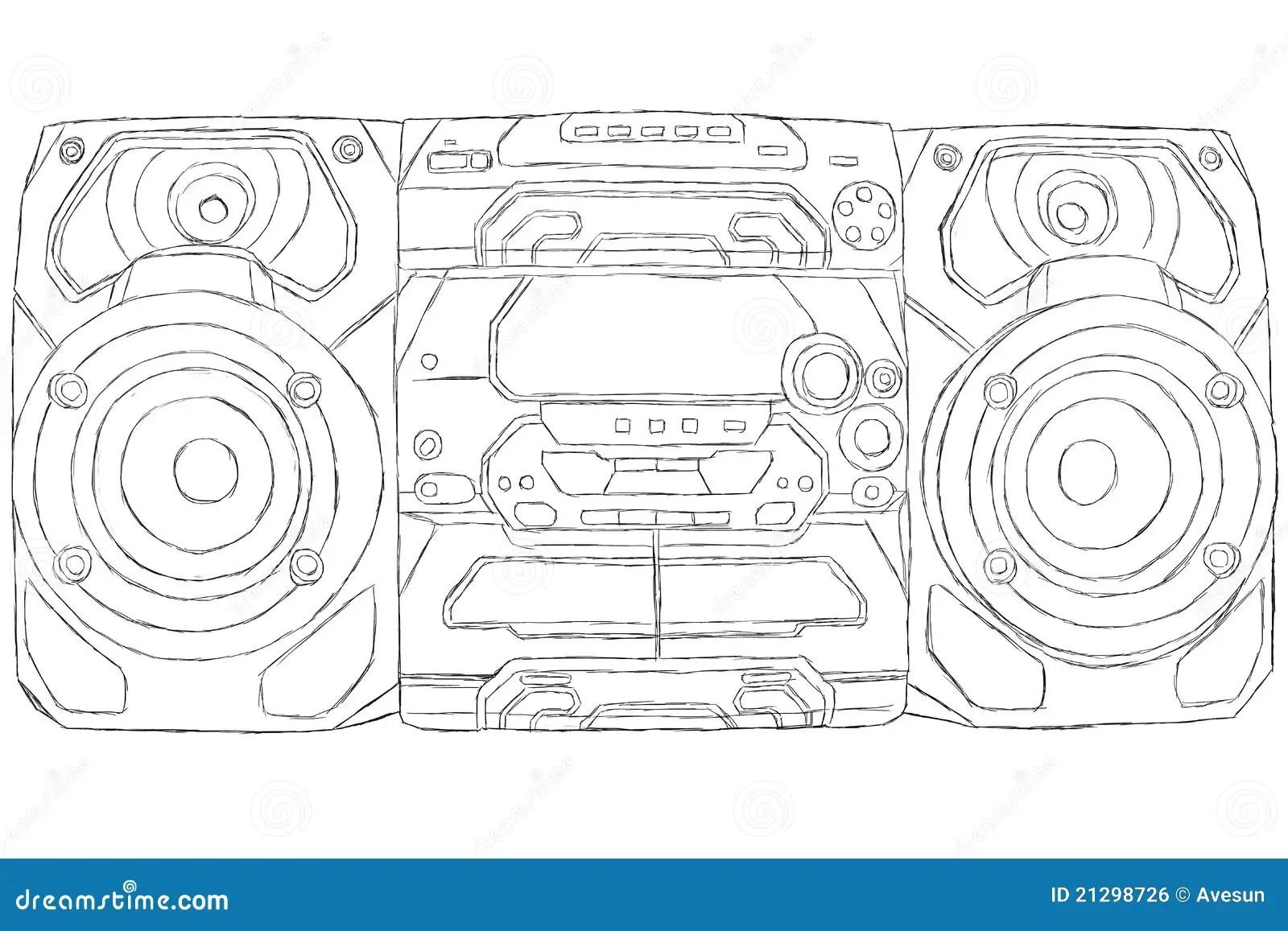 Stereo Cd Player Jukebox Phonograph Record Sketch Coloring