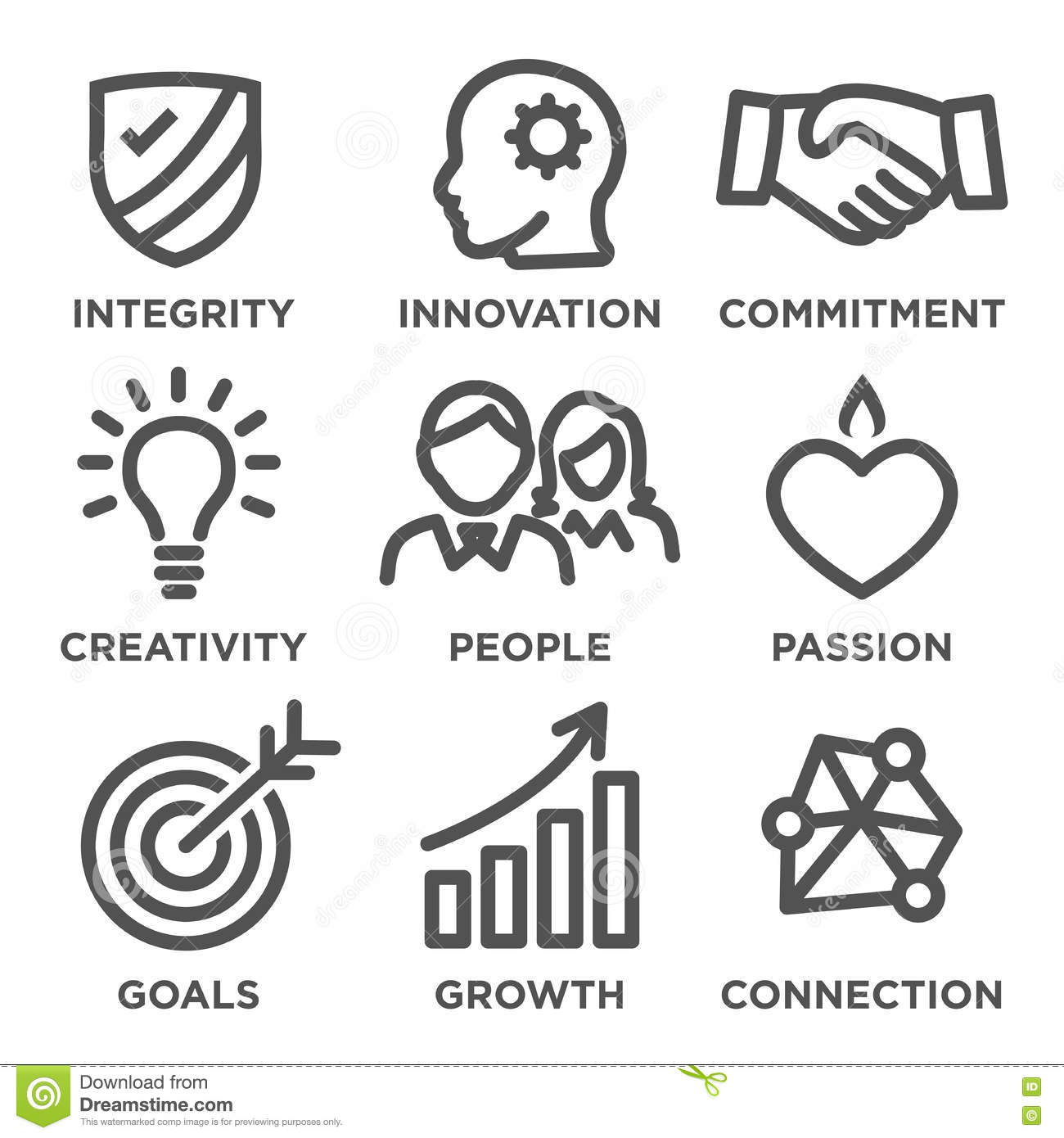 Company Core Values Outline Icons Stock Vector