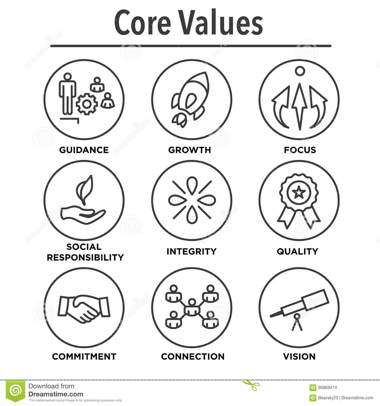 Company Core Values Outline Icons Vector Illustration