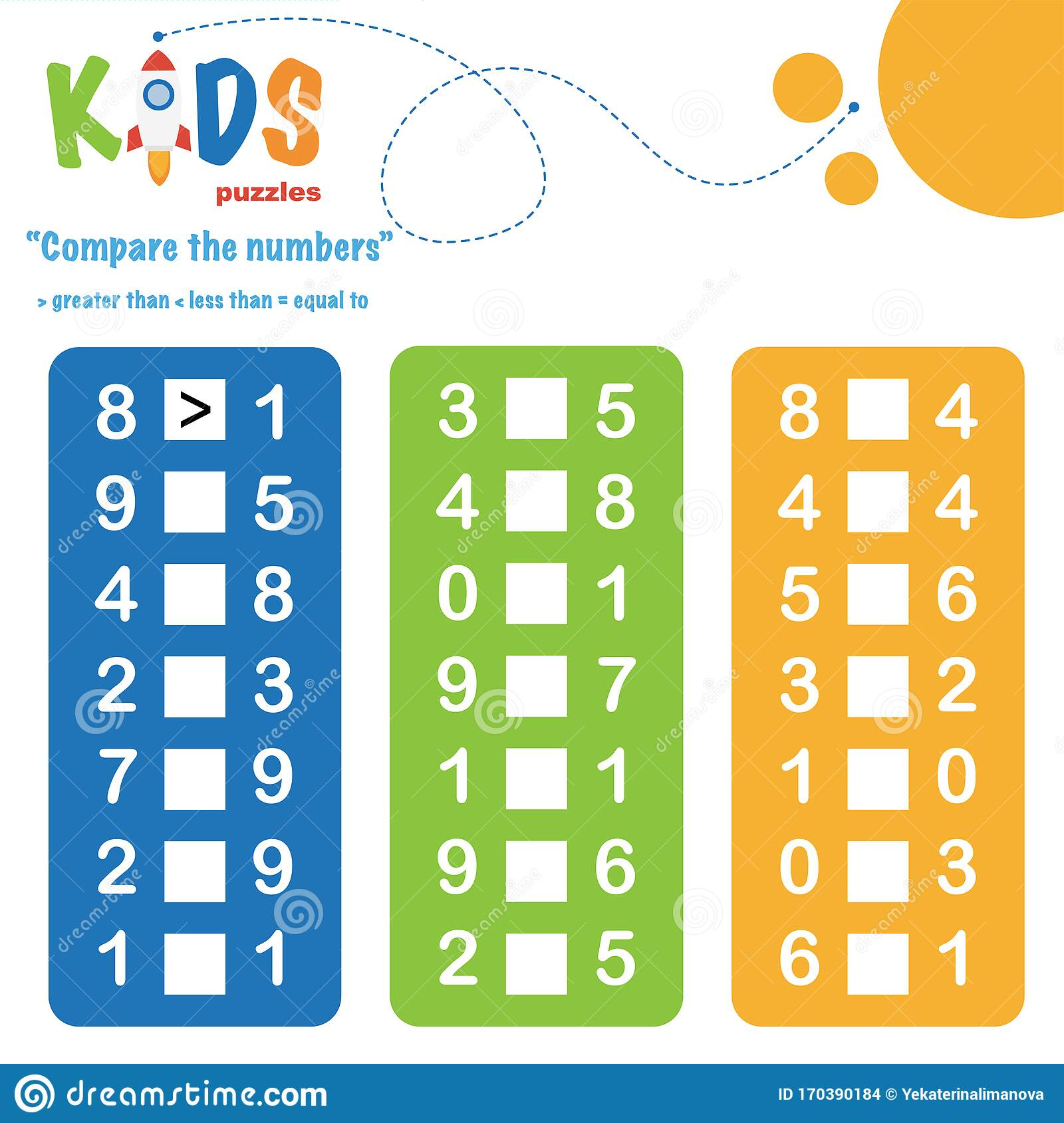 Compare The Numbers Worksheet Practice Easy Colorful