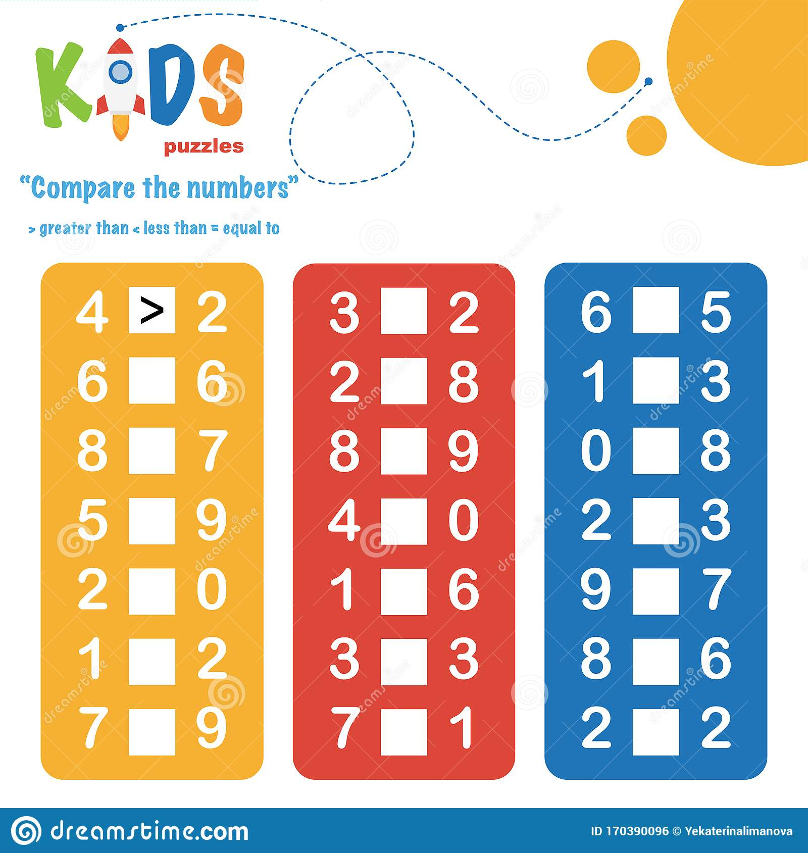 Compare The Numbers Worksheet Practice Stock Vector