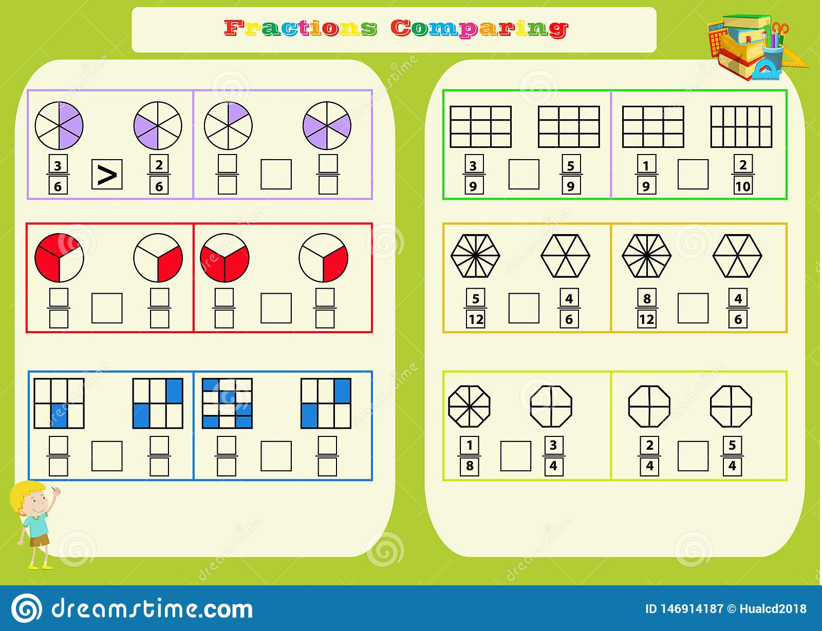 Comparing Fractions Mathematical Worksheet Squares