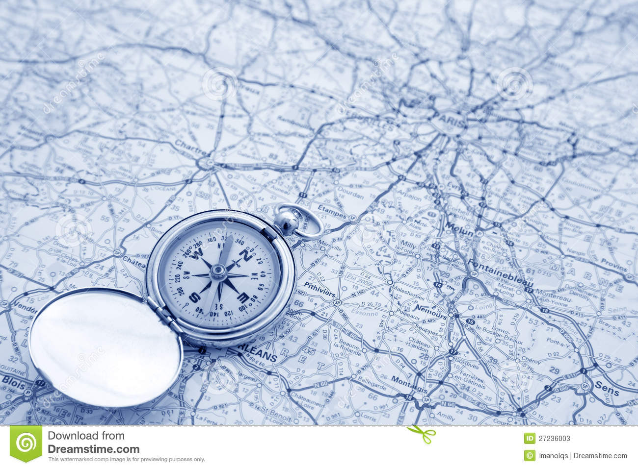 Compass And Map Stock Image Image Of Geography North