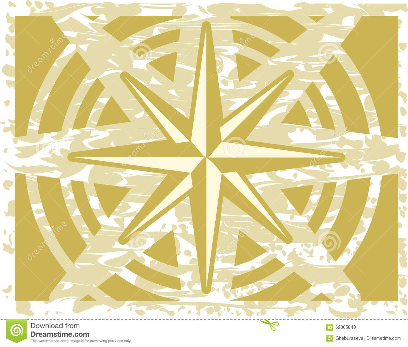 Compass Rose On Abstract Green Background Stock Vector