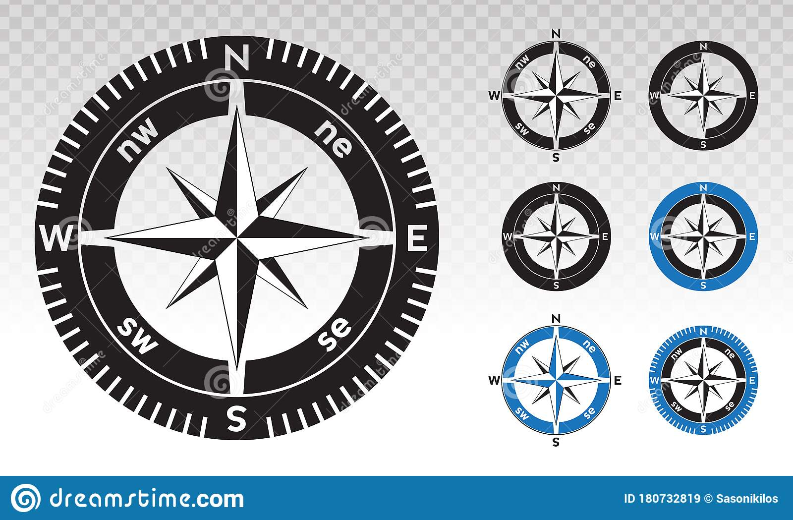 Compass Rose Or Wind Rose Vector Flat Icon On A