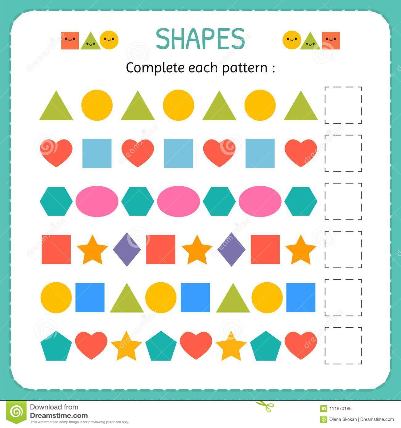 Complete Each Pattern Learn Shapes And Geometric Figures Preschool Or Kindergarten Worksheet