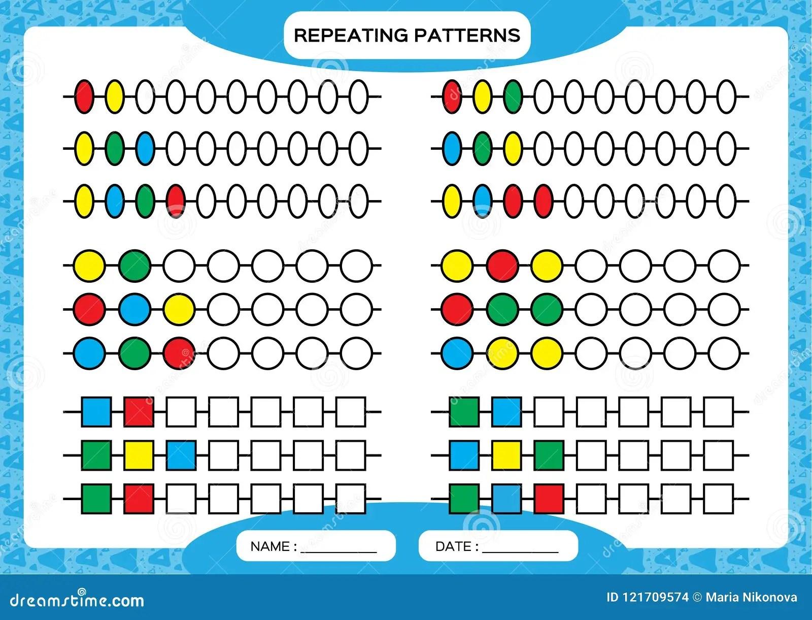 Complete Repeating Patterns Worksheet For Preschool Kids