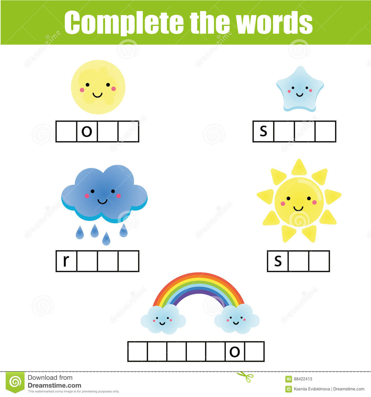 Complete The Words Children Educational Game Weather