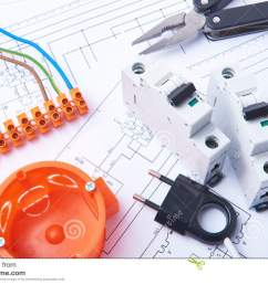 components for use in electrical installations fuses plug connectors junction box switch isolation tape and wires accessories for engineering work  [ 1300 x 958 Pixel ]
