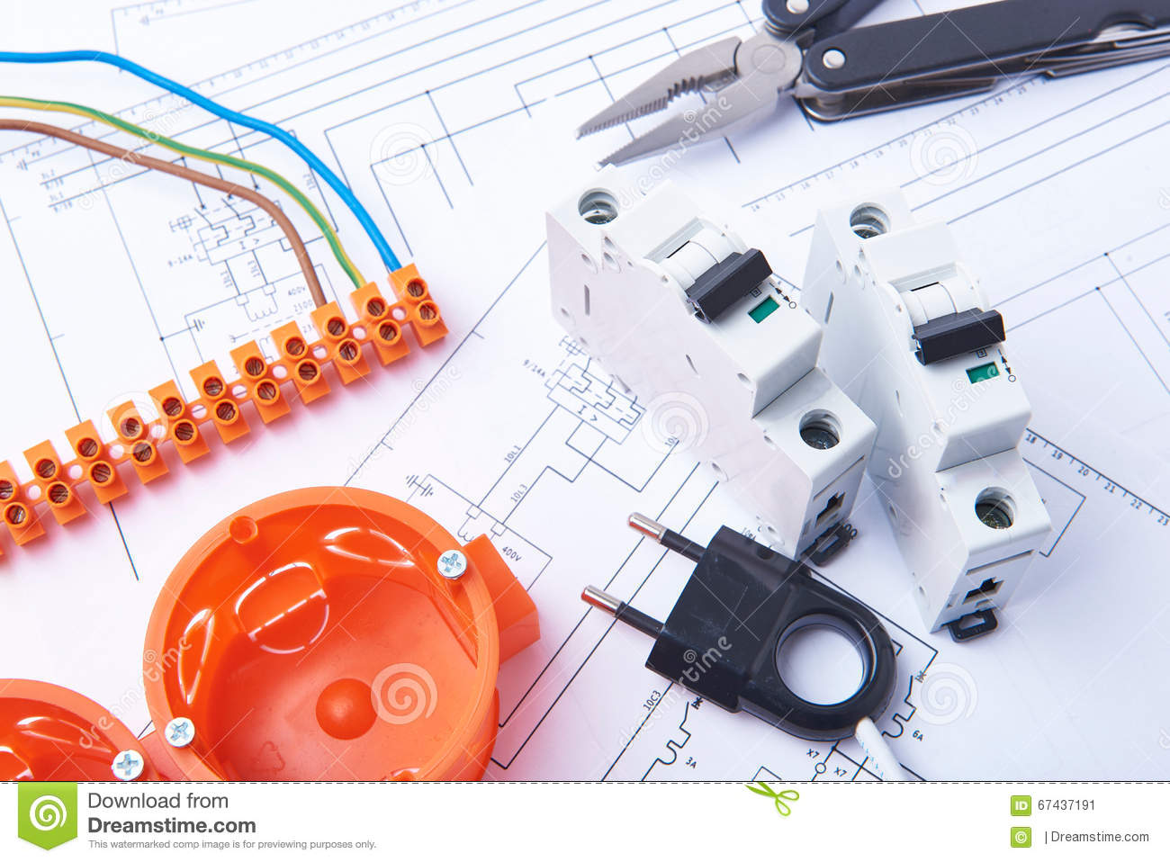 hight resolution of components for use in electrical installations fuses plug connectors junction box switch isolation tape and wires accessories for engineering work
