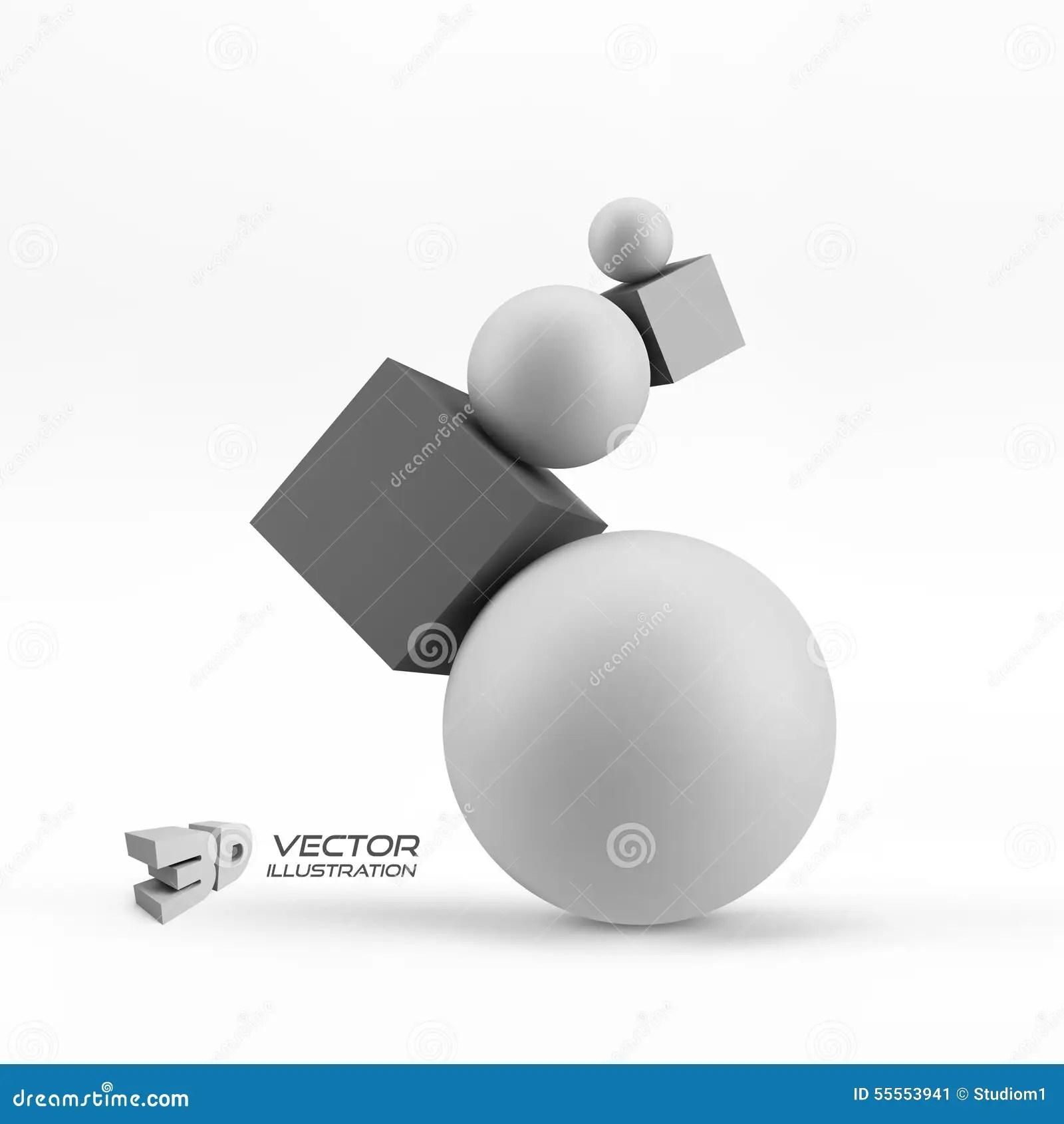 Composition Of 3d Geometric Shapes Vector Illustration Stock Illustration