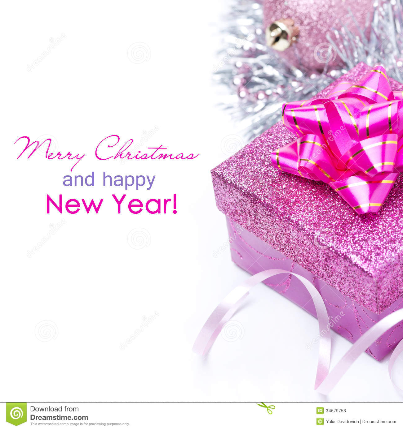 Composition With Pink Gift Box For Christmas Isolated