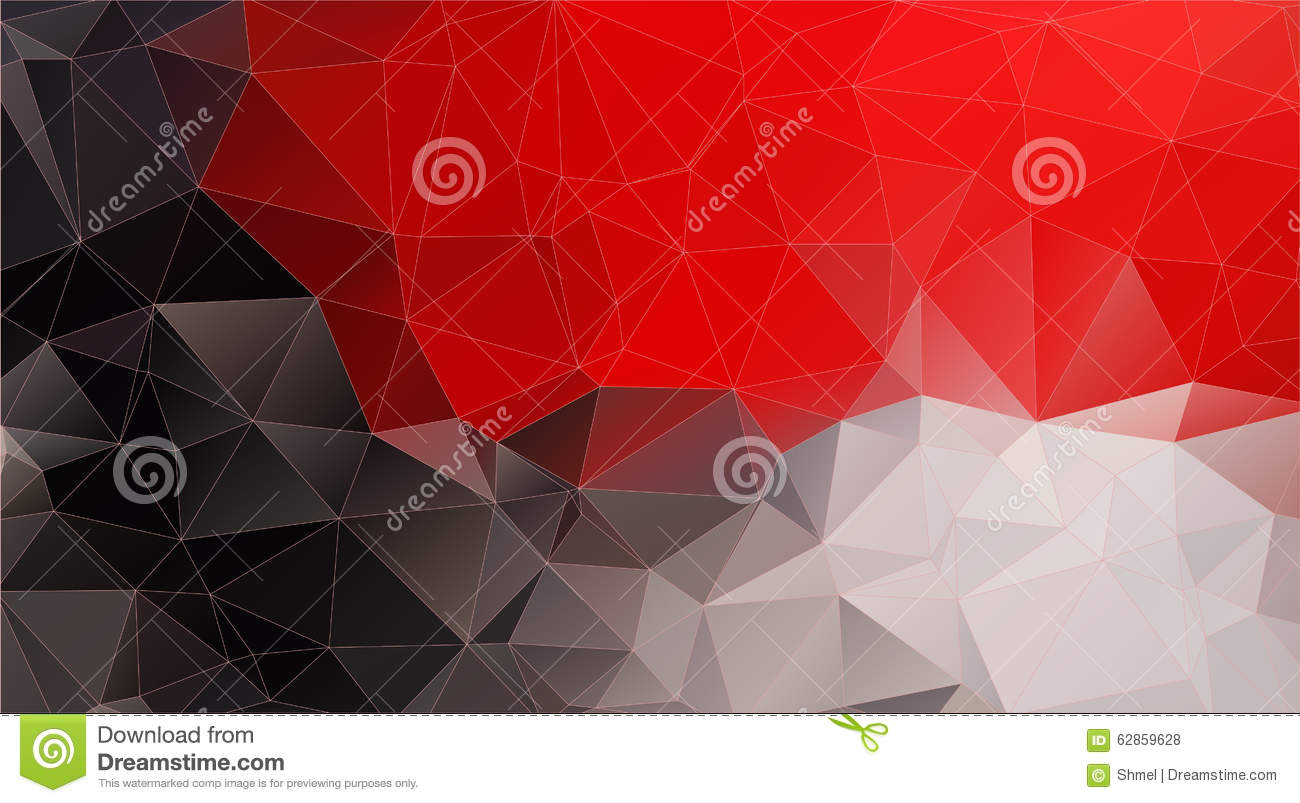 Composition With Red And Black Geometric Shapes Stock Vector