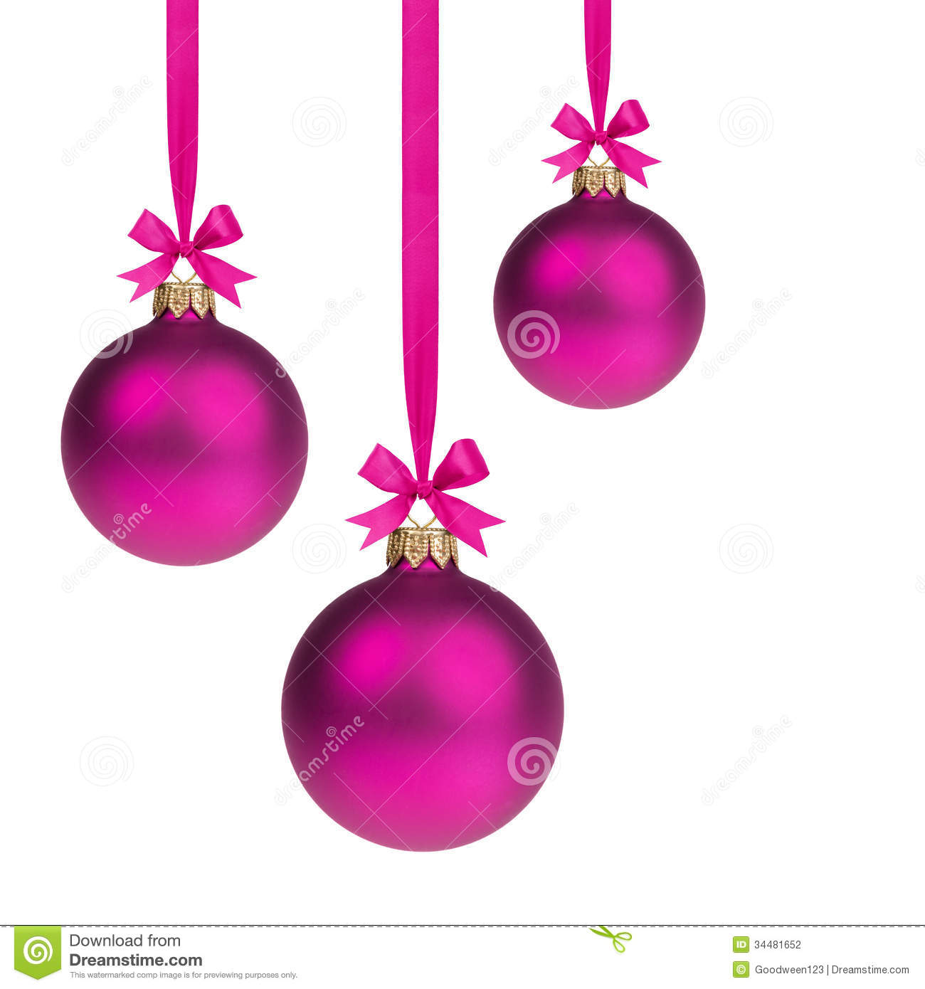 Composition From Three Purple Christmas Balls Hanging On