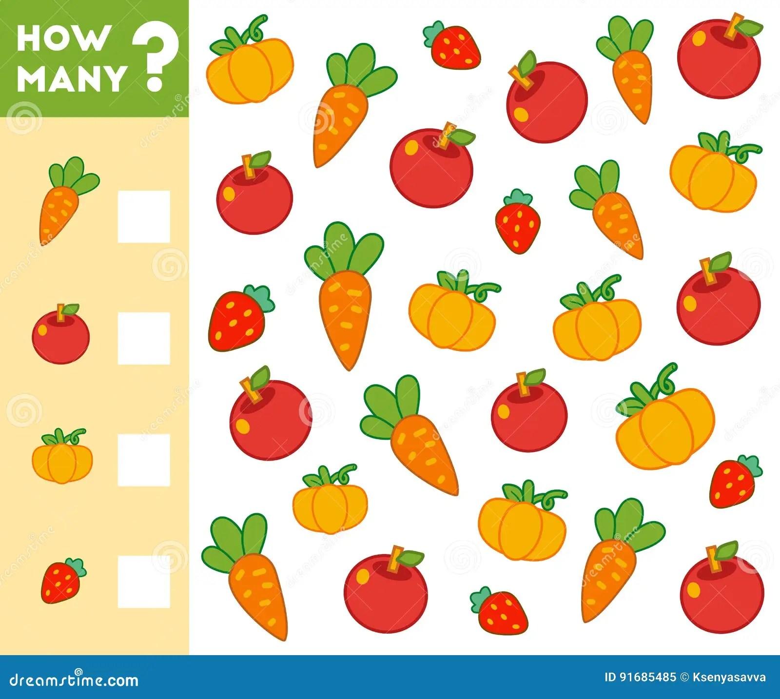 Compte Du Jeu Pour Des Enfants Comptez Combien De Fruits