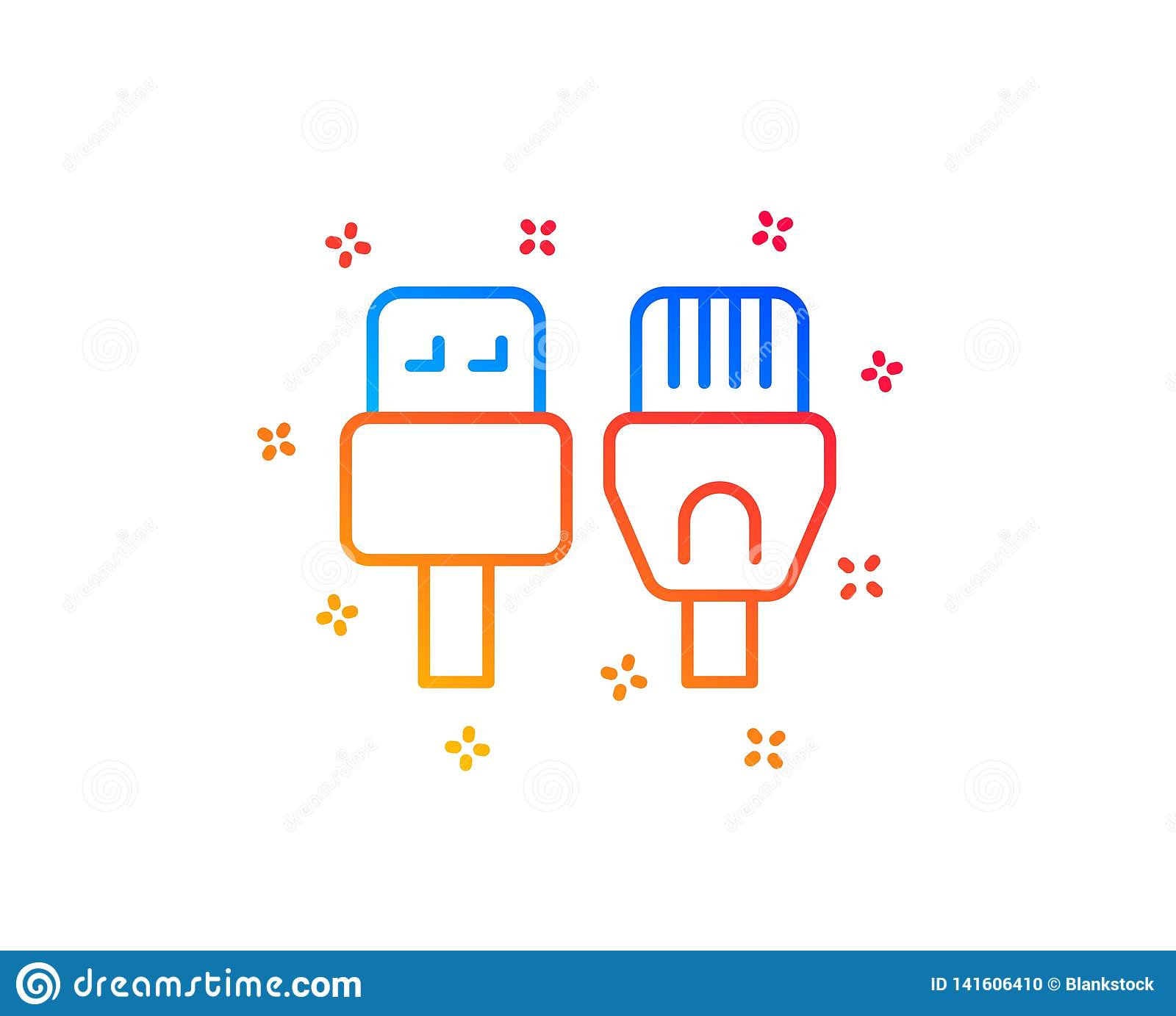 hight resolution of usb rj45 connection wires sign vector