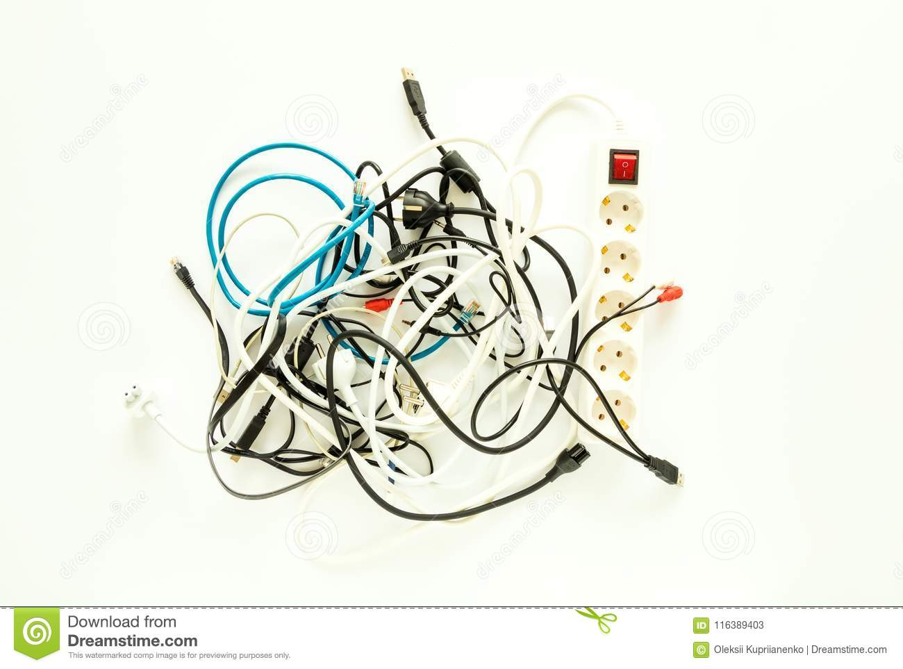 hight resolution of computer cables electronic wires extension and chargers in a messy heap home electronic chaos concept flat lay view from above
